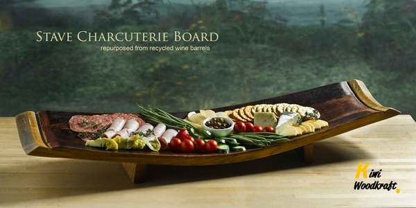 Charcuterie serving board made from wine barrel staves